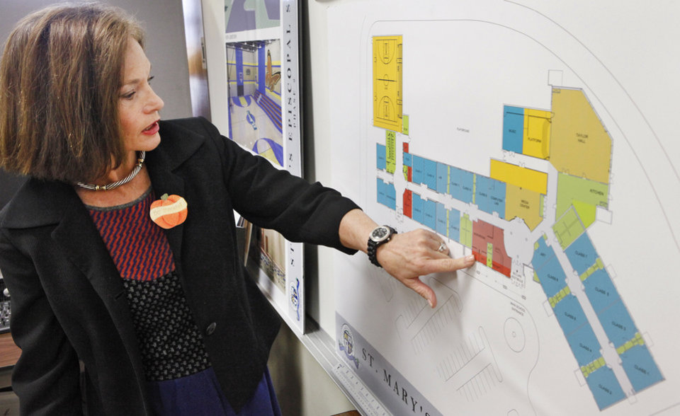 Nancy Hetherington, principal at St. Mary's Episcopal School in Edmond, shows plans for the school. Photo By David McDaniel, The Oklahoman