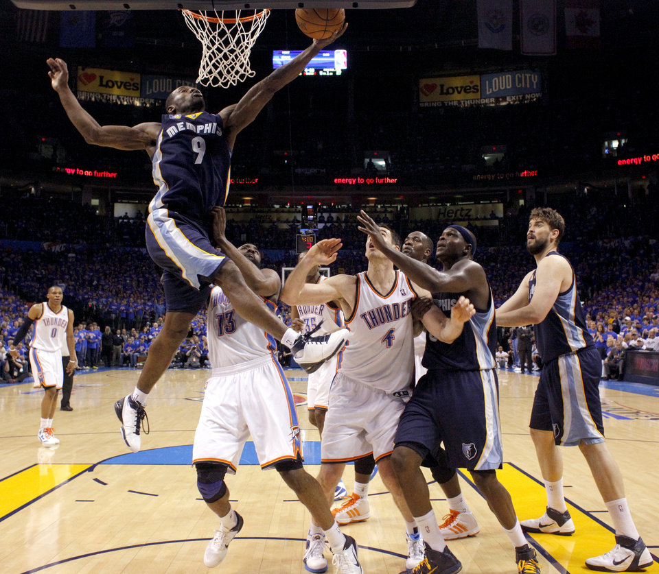 Tony Allen (9) of Memphis shoots a lay up during game 7 of the NBA basketball Western Conference semifinals between the Memphis Grizzlies and the Oklahoma City Thunder at the OKC Arena in Oklahoma City, Sunday, May 15, 2011. Photo by Sarah Phipps, The Oklahoman