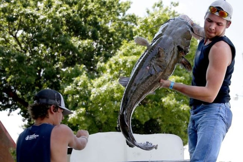 Photo -  Colby Hunter, right, of Lone Grove, pulls his fish out of his tank beside Curtis Kyle, 16, during the Okie Noodling Tournament and Festival. [Bryan Terry/The Oklahoman]