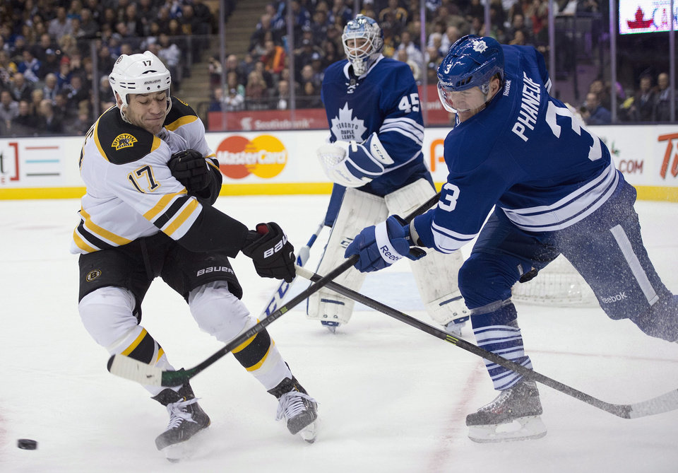 Toronto Maple Leafs defenseman Dion Phaneuf (3) clears the puck past Boston Bruins left winger Milan Lucic (17) as goaltender Jonathan Bernier looks on during first period NHL action in Toronto on Sunday Dec. 8, 2013. (AP Photo/The Canadian Press, Frank Gunn)