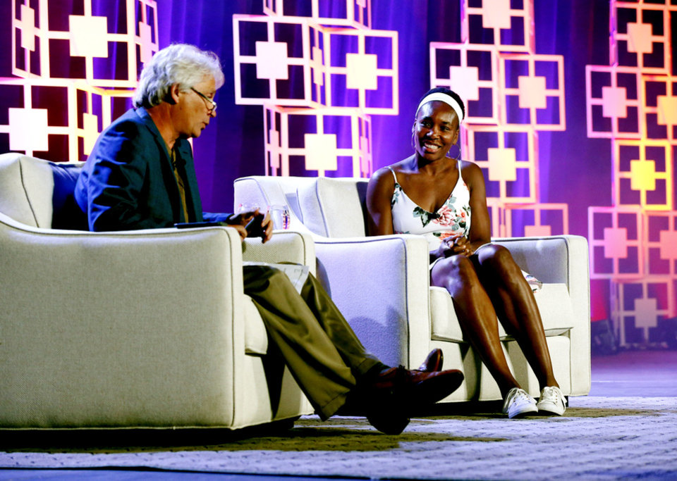 Photo - Tennis legend Venus Williams takes the stage to speak with Oklahoman Sports Columnist Berry Tramel during The Oklahoman's All-City Prep Sports Awards, celebrating top high school athletes, at the Cox Convention Center on Tuesday, June 26, 2018 in Oklahoma City, Okla.  Photo by Steve Sisney, The Oklahoman