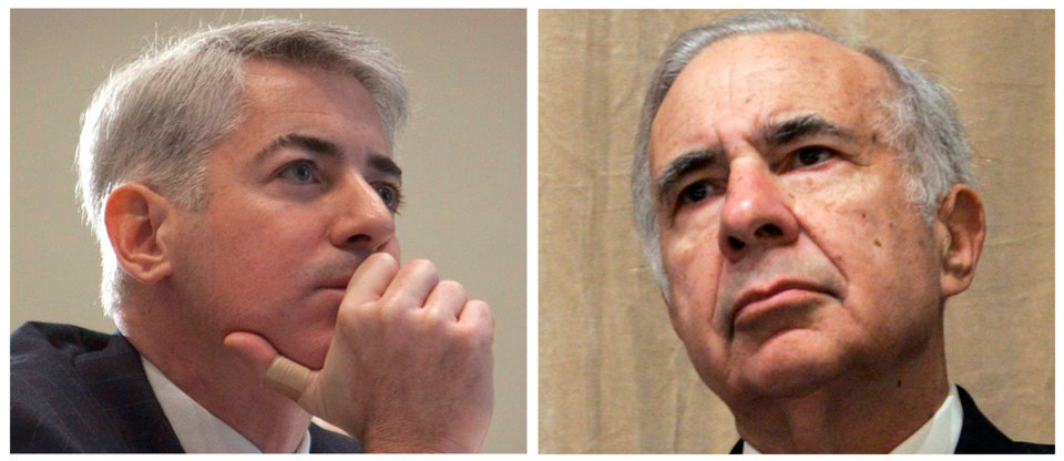 FILE - This file photo combo of file photos shows Bill Ackman, left, of Pershing Square Capital Management, on Feb. 6, 2012, in Toronto, and financier Carl Icahn, on Feb. 7, 2006, in New York. A clash between Wall Street titans is flaring again Friday, Feb. 15, 2013 after Carl Icahn grabbed a 13 percent stake in Herbalife, a supplement company that Pershing Square Capital Management's William Ackman shorted heavily and very publicly, calling it a massive pyramid scheme. The filing, which was published late Thursday, sent shares of Herbalife soaring more than 20 percent before the opening bell Friday. (AP Photo/Pawel Dwulit, Shiho Fukada, File)