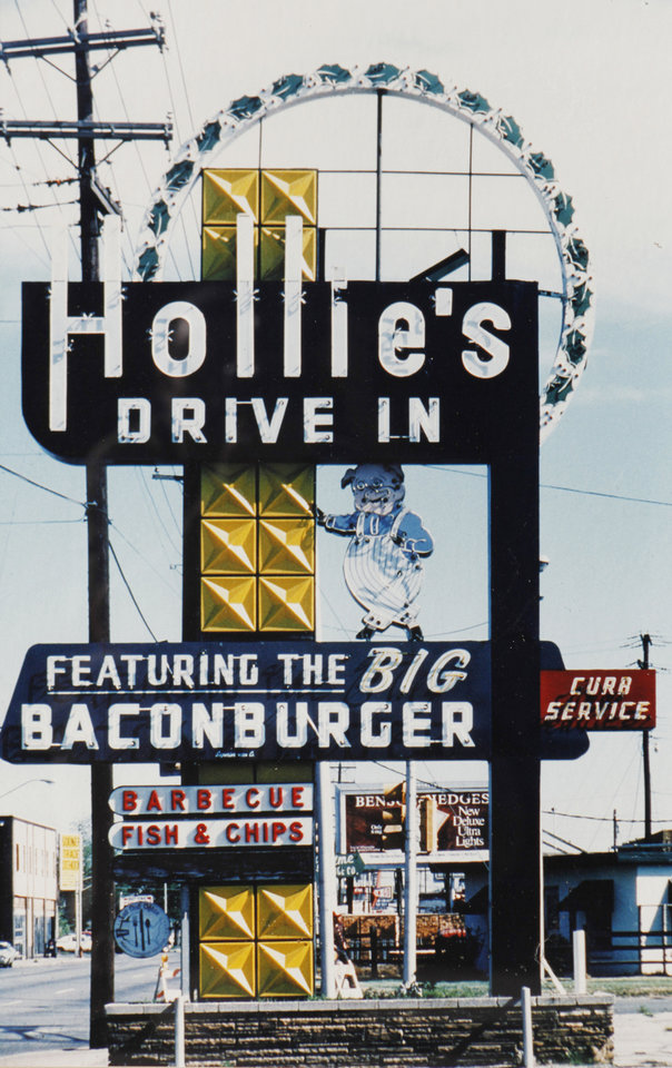 Photo - COLLECT / COLLECTOR / COLLECTION: Hollie's Drive-In sign photo from Jerry Hilterbrand's memorabilia collection in Oklahoma City, November  10, 2010. Photo by Steve Gooch, The Oklahoman ORG XMIT: KOD