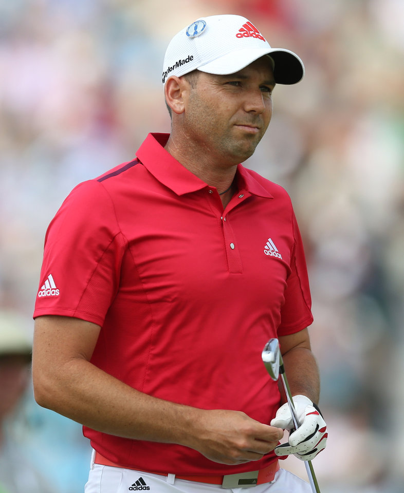 Photo - Sergio Garcia of Spain prepares to play a shot off the 4th tee during the second day of the British Open Golf championship at the Royal Liverpool golf club, Hoylake, England, Friday July 18, 2014. (AP Photo/Scott Heppell)