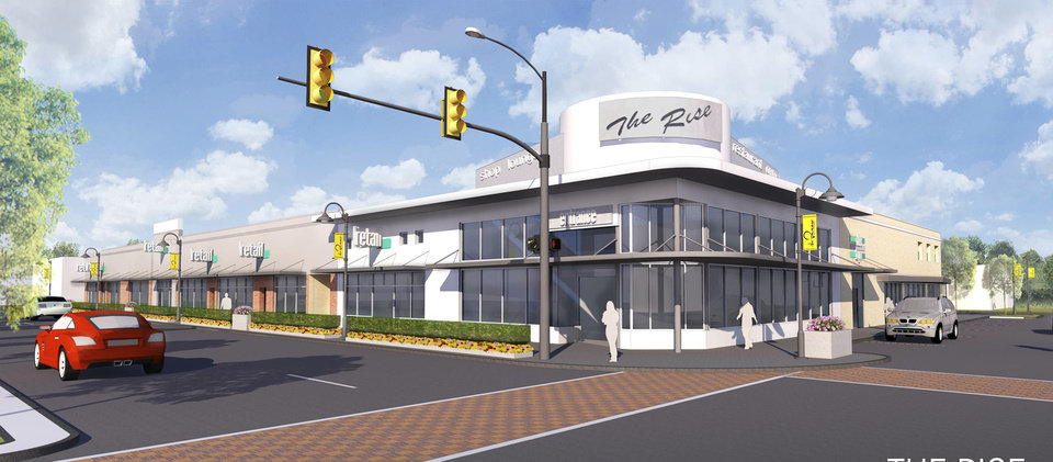 Photo - Plans for The Rise, at NW 23 and Walker, include an extensive renovation of a decades-old shopping center. Drawing provided by TAP Architecture