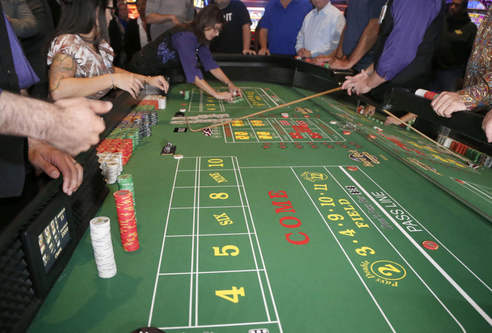 Photo -  Craps table during the first day of Oklahoma casinos being able to use ball and dice in Tulsa, OK, Aug. 20, 2018. [STEPHEN PINGRY/Tulsa World]
