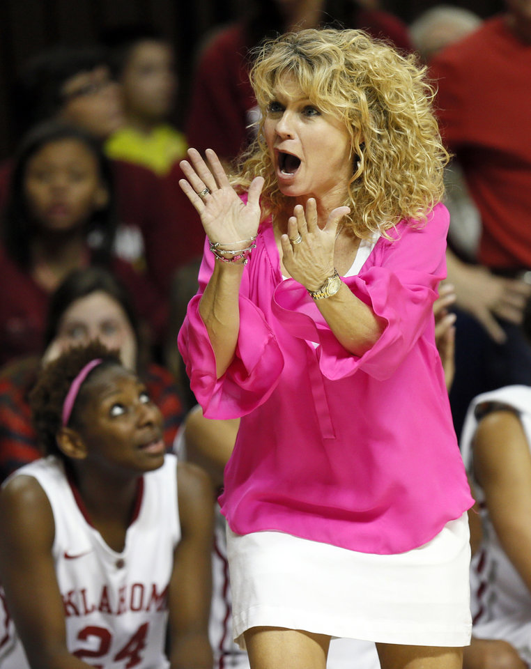 Photo - Oklahoma head coach Sherri Coale reacts after a call against the Sooners in the second half during the women's Bedlam college basketball game between the OU Sooners and the OSU Cowgirls at Gallagher-Iba Arena in Stillwater, Okla., Sunday, Feb. 16, 2014. OSU won, 73-57. Photo by Nate Billings, The Oklahoman