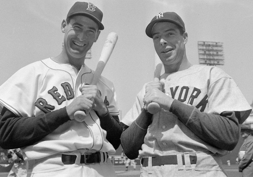 Photo - DEATH: FILE--Ted Williams, left, of the Boston Red Sox and Joe DiMaggio of the New York Yankees prepare to start the first game of the American League season at Fenway Park in Boston in this April 18, 1950 photo. Williams, the Boston Red Sox revered and sometimes reviled ``Splendid Splinter'' and baseball's last .400 hitter, died Friday, July 5, 2002, of cardiac arrest at Citrus County Memorial Hospital in Inverness, Fla., said hospital spokeswoman Rebecca Martin. He was 83. (AP Photo)