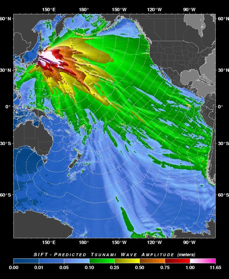 Photo - This image provided by the Pacific Tsunami Warning Center shows  a