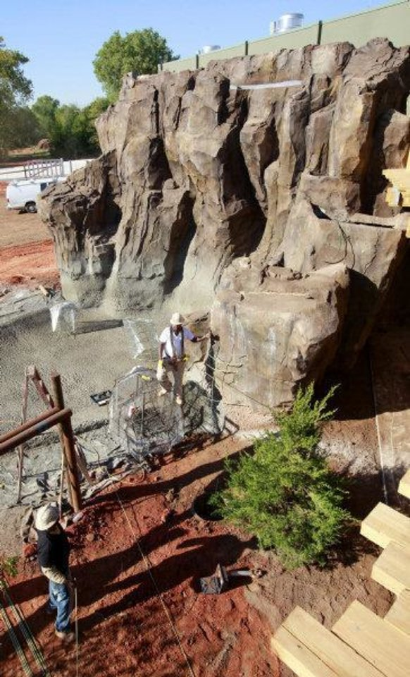 A 30-foot waterfall will be one of the key features in the large elephant yard in the new exhibiat the Oklahoma City Zoo. The waterfall leads into a pool that holds 214,000 gallons of water. <strong>PAUL B. SOUTHERLAND - THE OKLAHOMAN</strong>