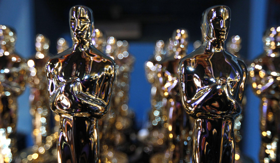 ** EMBARGOED AT THE REQUEST OF THE ACADEMY OF MOTION PICTURE ARTS & SCIENCES FOR USE UPON CONCLUSION OF THE ACADEMY AWARDS TELECAST ** Oscar statues are seen backstage during the 84th Academy Awards on Sunday, Feb. 26, 2012, in the Hollywood section of Los Angeles. (AP Photo/Chris Carlson) ORG XMIT: OSC548