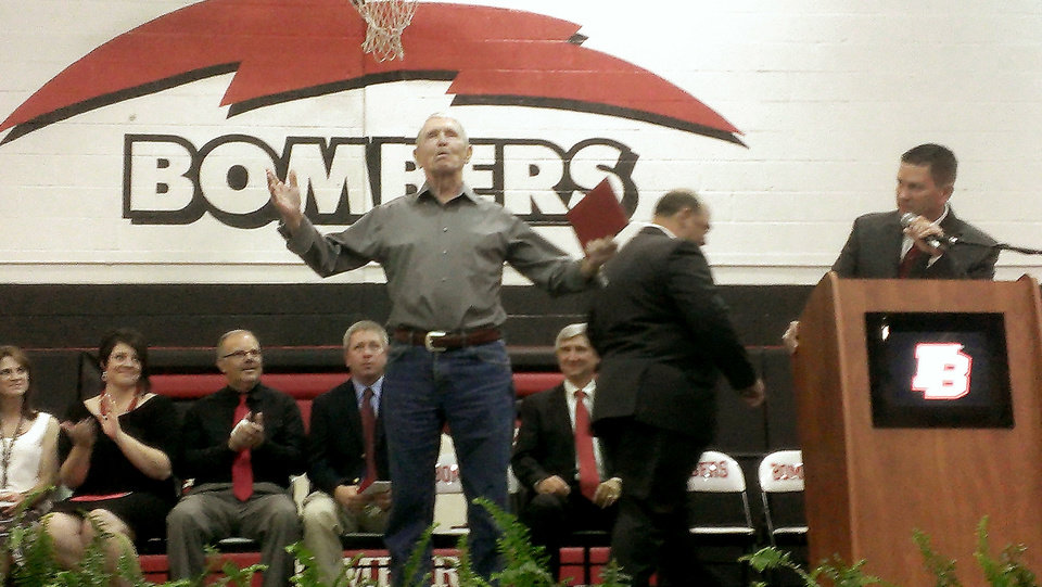 Photo - Bill Dill joins the 2013 graduating class of Frederick High School on Thursday night.  PHOTO PROVIDED  PROVIDED