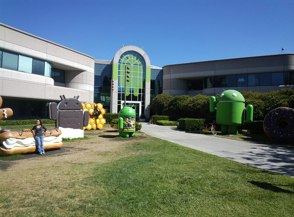 This photo taken through Google Glass shows a building at Google's headquarters in Mountain View, Calif., with sculptures named after various Android operating systems, which include Honeycomb and Jellybean. PHOTO BY LILLIE-BETH BRINKMAN, THE OKLAHOMAN. <strong></strong>