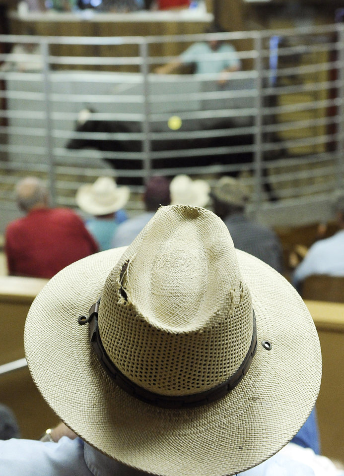 Photo - File - In this July 28, 2011 file photo, a man watches a cattle auction at the Lockhart Livestock Auction arena in Lockhart, Texas. This year, cowboys statewide watched closely a recent auction in Frankston to see how the  cattle sold. The price of the heifers, the number of buyers, the amount of sales, and the attitude of the ranchers is one of the first real indications of how quickly Texas recovers from the impacts of a historic drought _ and at what cost. (AP Photo/Pat Sullivan, File) ORG XMIT: TXKJ101