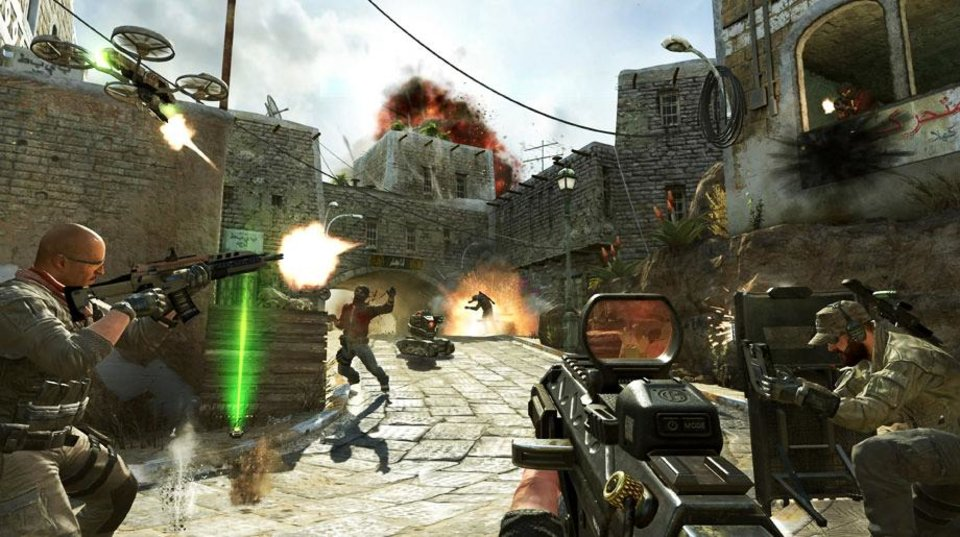 This undated publicity image released by Activision shows soldiers and terrorists battling in the streets of Yemen in a scene from the video game, �Call of Duty: Black Ops II.�  Video-game violence has come under increased scrutiny after the killing of 26 people, including 20 children, in a Connecticut elementary school last week. (AP Photo/Activision)