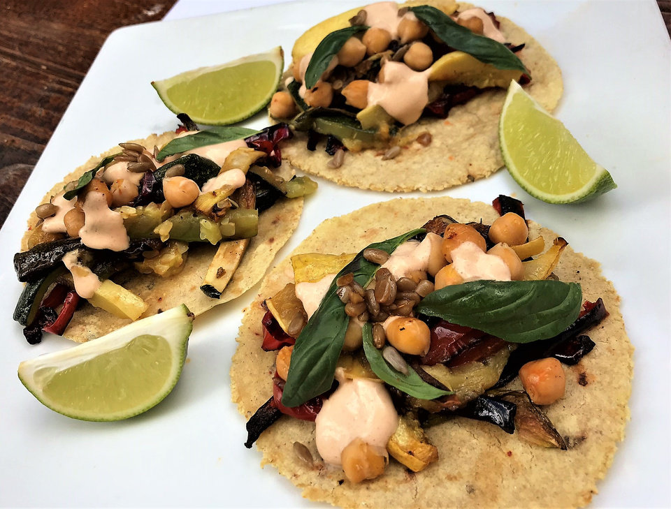 Photo -  Vegetarian tacos at a tasting for Oso, which opens in early October. [Photo by Dave Cathey, The Oklahoman]