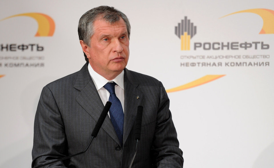 Photo - FILE - In this Friday, Oct. 11, 2013 file photo CEO of state-controlled Russian oil company Rosneft Igor Sechin commissions  new equipment at the Rosneft oil refinery in the Black Sea port of Tuapse, southern Russia. The U.S. Department of the Treasury on Monday, April 28, 2014, designated seven Russian government officials, including two key members of the Russian leadership's inner circle, and 17 entities pursuant to Executive Order (E.O.) 13661. E.O. 13661 authorizes sanctions on, among others, officials of the Russian Government and any individual or entity that is owned or controlled by, that has acted for or on behalf of, or that has provided material or other support to, a senior Russian government official. Sechin is on the list. (AP Photo/RIA-Novosti, Alexei Nikolsky, Presidential Press Service, File)