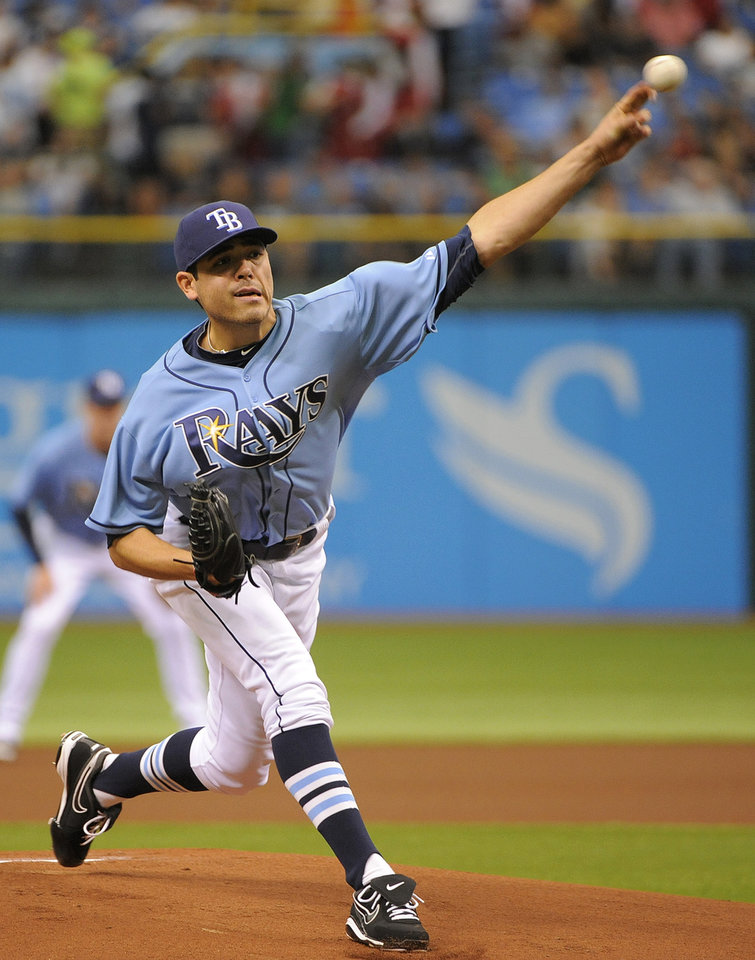 Photo -   Tampa Bay Rays starting pitcher Matt Moore delivers to the Oakland Athletics during the first inning of a baseball game Sunday, May 6, 2012, in St. Petersburg, Fla. (AP Photo/Brian Blanco)
