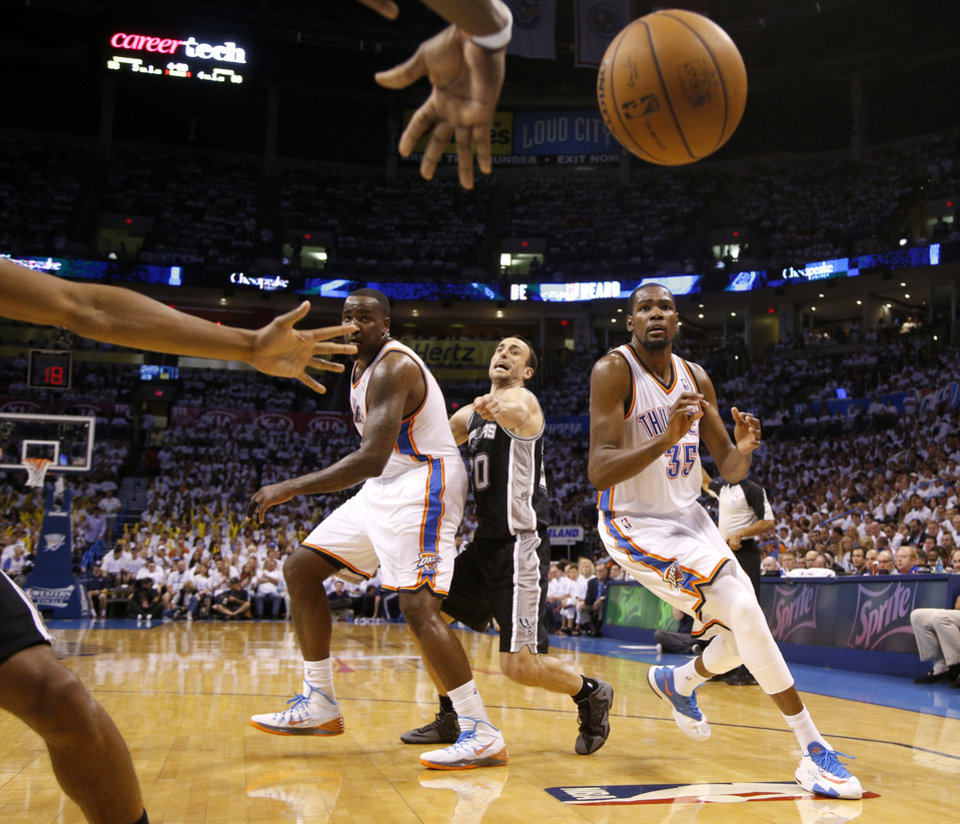 Photo - Oklahoma City's Kevin Durant (35) moves towards an inbounds pass beside Kendrick Perkins (5) and San Antonio's Manu Ginobili (20) during Game 6 of the Western Conference Finals in the NBA playoffs between the Oklahoma City Thunder and the San Antonio Spurs at Chesapeake Energy Arena in Oklahoma City, Saturday, May 31, 2014. Oklahoma City lost 112-107. Photo by Bryan Terry, The Oklahoman