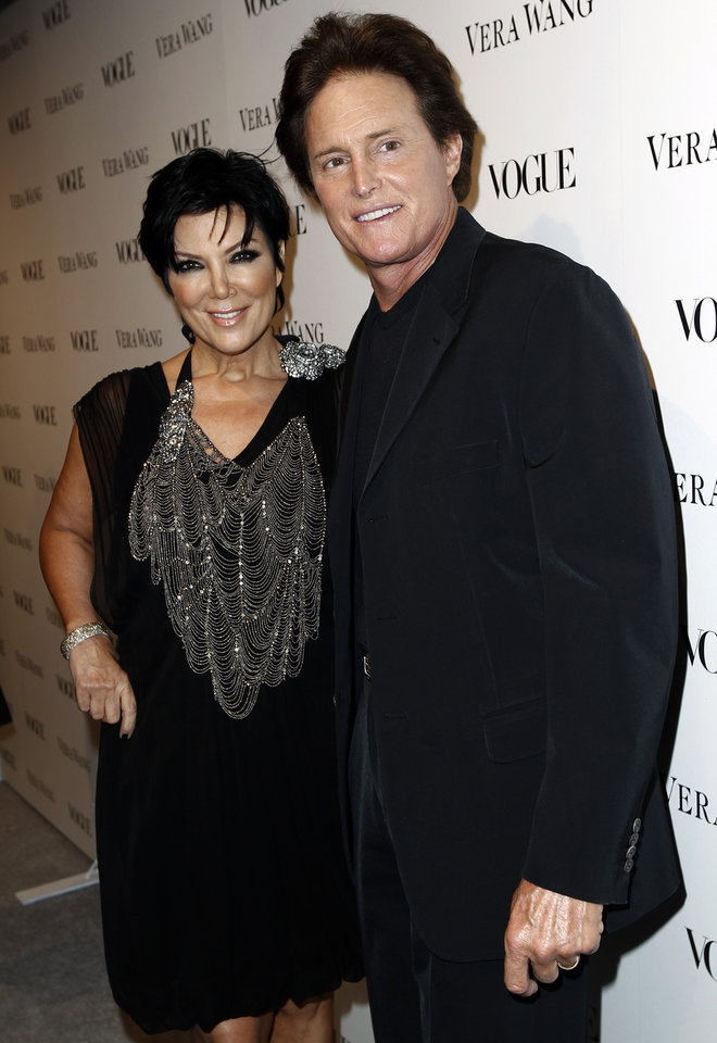 """Photo - FILE - This March 2, 2010 file photo shows Kris Jenner, left, and Bruce Jenner at the Vogue Magazine dinner celebrating the launch of the Vera Wang store on Melrose in West Hollywood, Calif.  The celebrity couple have confirmed they separated a year ago, after 22 years together. In an interview with US Weekly magazine hitting newsstands Friday, Oct. 11, 2013, Kris Jenner said """"There is no animosity. We are united and committed to our family."""" (AP Photo/Matt Sayles, File)"""