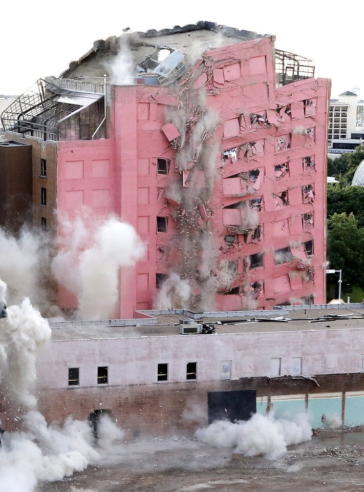 Photo - The Old Hotel Black and a parking garage were imploded Sunday, September 13, 2015. Photo by Doug Hoke, The Oklahoman