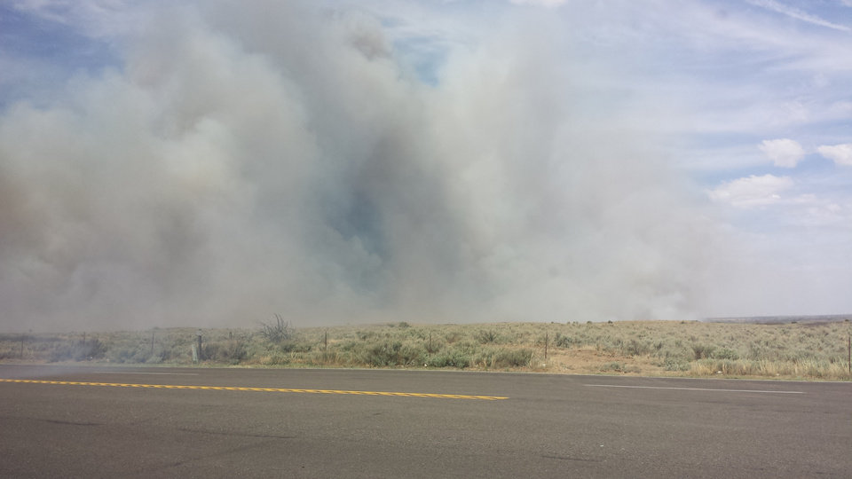 Photo - Smoke from the wildfire northwest of Woodward is seen today. Photo by Conyetta Lehenbauer