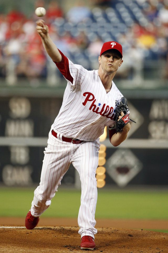 Photo - Philadelphia Phillies' Kyle Kendrick pitches during the first inning of an interleague baseball game against the Houston Astros, Tuesday, Aug. 5, 2014, in Philadelphia. (AP Photo/Matt Slocum)