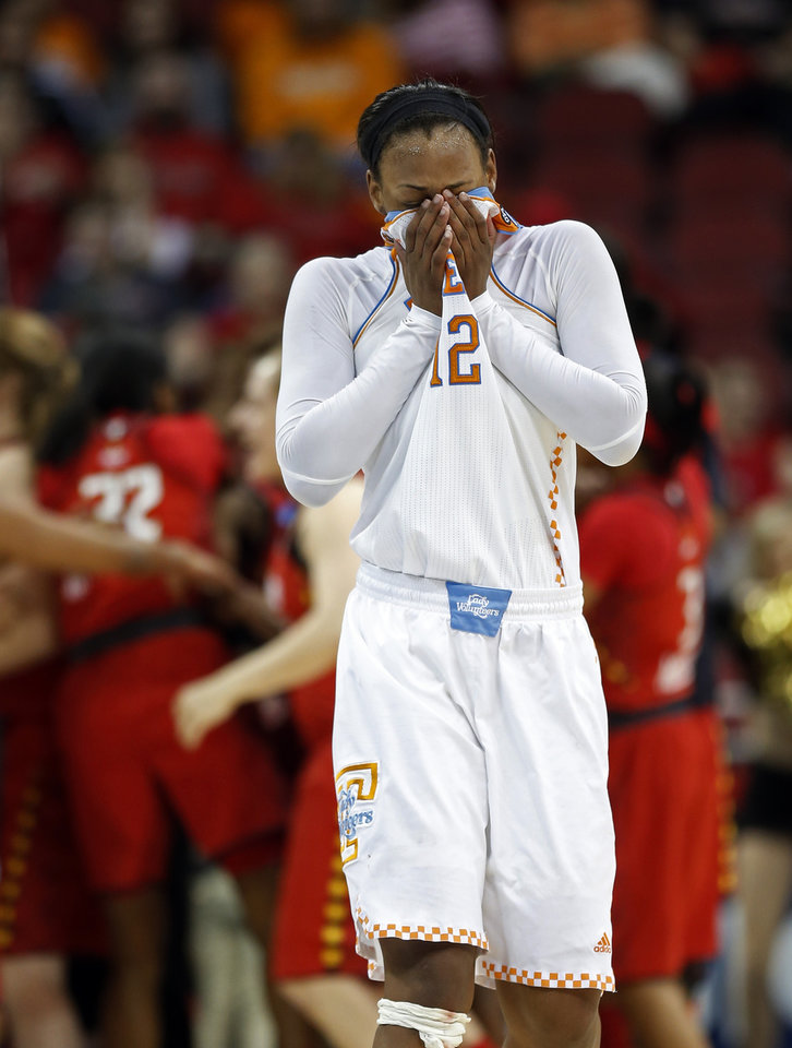 Photo - Tennessee forward Bashaara Graves (12)  leaves the court after losing 73-62 to Maryland in a regional semifinal game at the NCAA college basketball tournament on Sunday, March 30, 2014, in Louisville, Ky. (AP Photo/John Bazemore)
