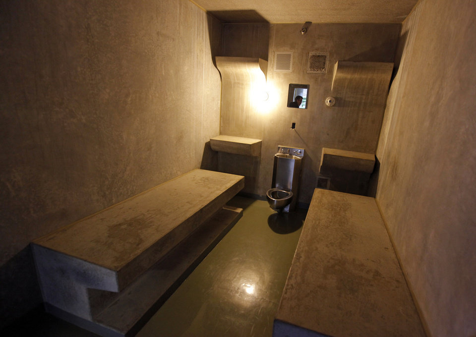The inside of cell LL on H Unit\'s death row at the Oklahoma State Penitentiary in McAlester, Okla., Wednesday, Dec. 7, 2011. Cell LL is where inmates are kept just before their execution. Photo by Nate Billings, The Oklahoman