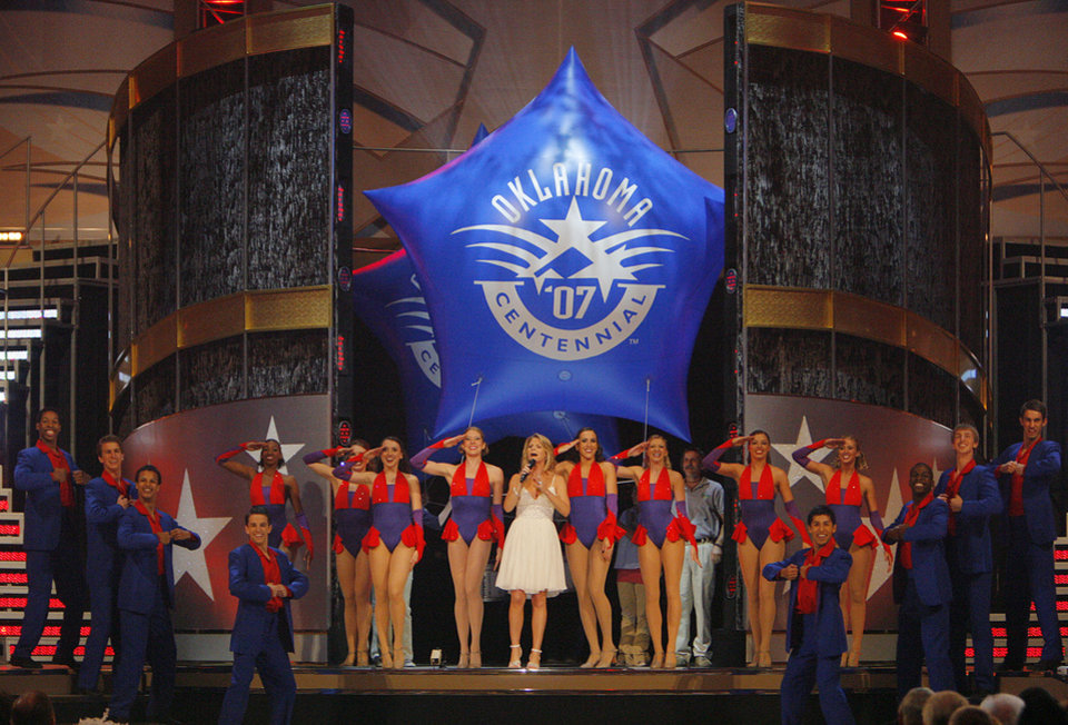 Photo - Kelli O'Hara performs during the Centennial Spectacular to celebrate the 100th birthday of the State of Oklahoma at the Ford Center on Friday, Nov. 16, 2007, in Oklahoma City, Okla. Photo By CHRIS LANDSBERGER, The Oklahoman