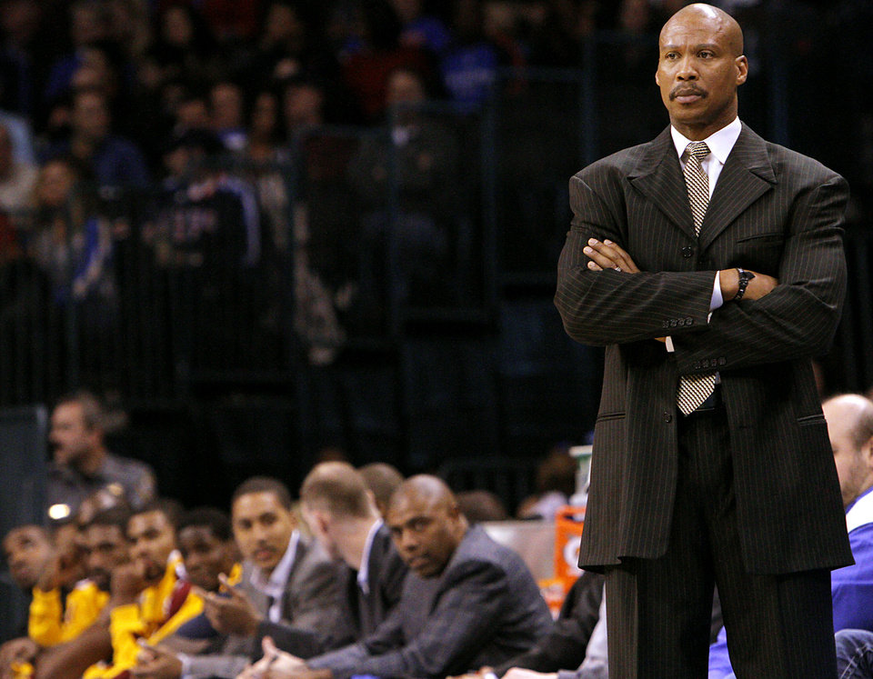 Photo - Cleveland head coach Byron Scott watches his team during the first half of their NBA basketball game against Oklahoma City at the OKC Arena in Oklahoma City on Sunday, Dec. 12, 2010.  The Thunder beat the Cavaliers106-77. Photo by John Clanton, The Oklahoman