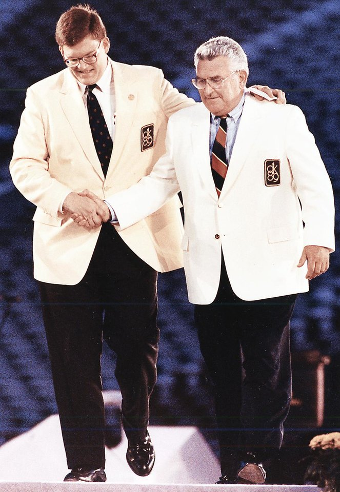 Photo - A 29-year-old Clay Bennett, left, takes the stage with Lee Allan Smith at the 1989 U.S. Olympic Festival. photo bY JIM BECKEL, THE OKLAHOMAN ARCHIVES