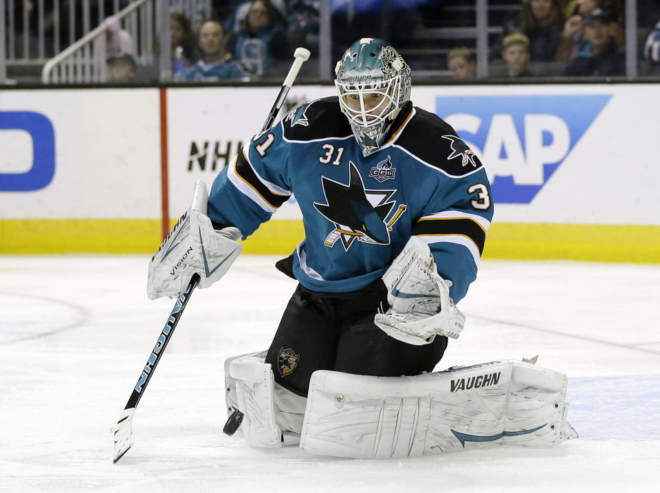 Photo - San Jose Sharks goalie Antti Niemi, of Finland, stops a shot on goal against the Phoenix Coyotes during the second period of an NHL hockey game in San Jose, Calif., Saturday, Feb. 9, 2013. (AP Photo/Marcio Jose Sanchez)