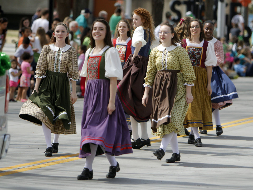The Celtic Praise Troop danced along the parade route in the annual Saint Patrick's Day Parade in downtown Oklahoma City, OK, Saturday, March 16, 2013,  By Paul Hellstern, The Oklahoman
