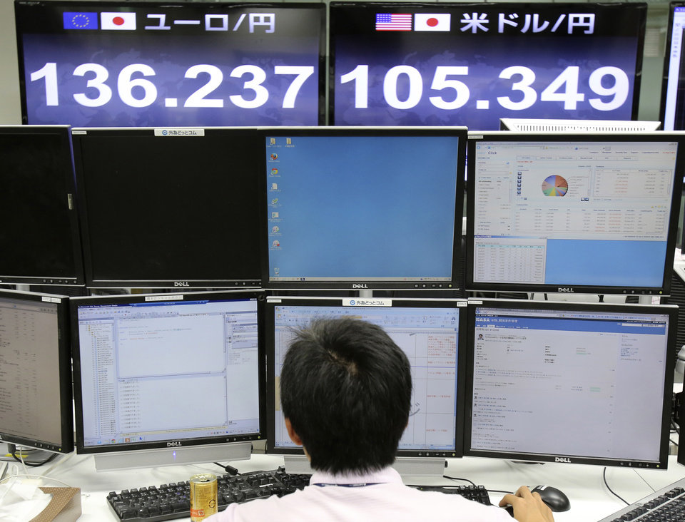 Photo - A foreign exchange company money trader works as screens show the current exchange rate of Japanese yen against U.S. dollar, top right, and euro, top left, in Tokyo, Friday, Sept. 5, 2014. The U.S. dollar rose to around 105.70 yen, the highest since October 2008, on Friday morning. (AP Photo/Koji Sasahara)