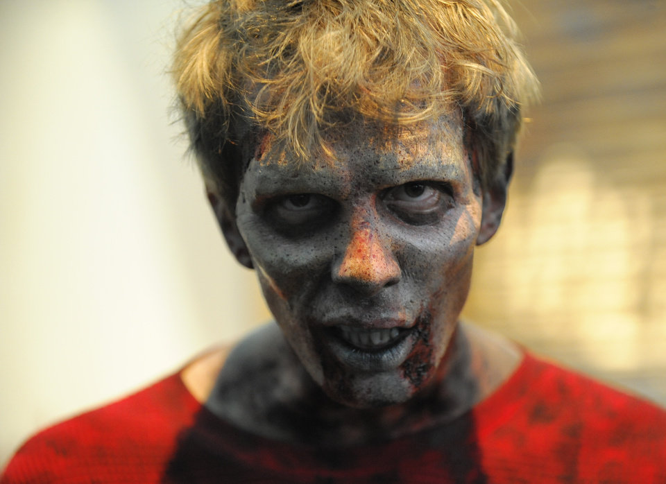 Photo -  A man in zombie makeup at last month's Comic-Con International at the San Diego Convention Center.