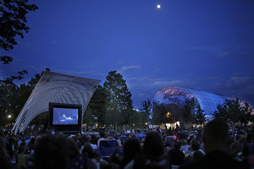 """Thousands watch the showing of """"Frozen"""" during Sonic Movie Night at the Myriad Botanical Gardens , Wednesday, July 9, 2014. Photo by Doug Hoke, The Oklahoman"""