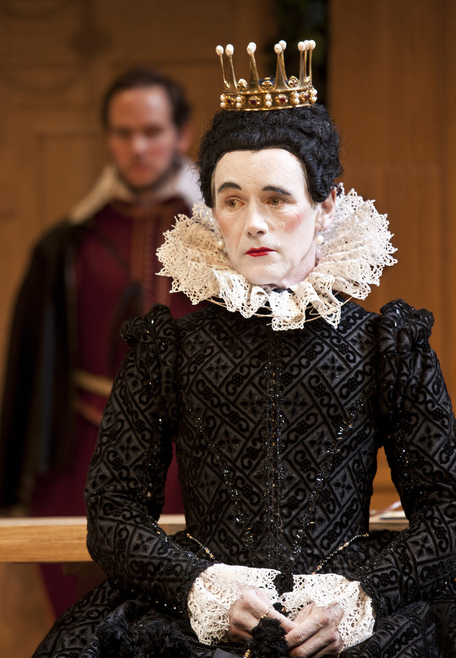 Photo -   In this image provided Monday Nov. 19, 2012 by Sonia Friedman Productions, Mark Rylance, as the character Olivia, during a dress rehearsal in Twelfth Night at a London theatre, Nov. 1, 2012. Mark Rylance's latest London performances are hot tickets, and not just because he is one of Britain's leading Shakespearean actors. It's a chance to see him in two wildly contrasting roles, the scheming usurper dispatching everyone who stands between him and the throne in