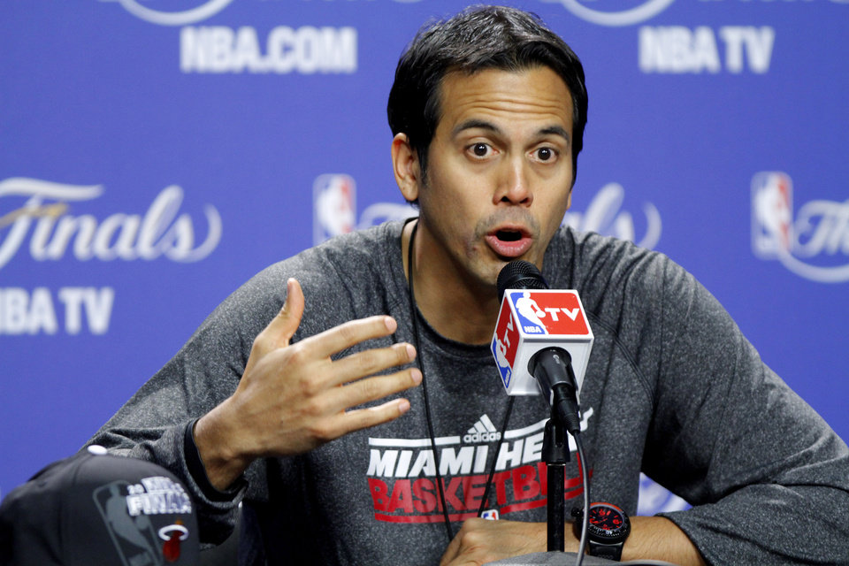 Photo - Miami coach Erik Spoelstra answers a question during a press conference for Game 5 of the NBA Finals between the Oklahoma City Thunder and the Miami Heat at American Airlines Arena, Wednesday, June 20, 2012. Photo by Bryan Terry, The Oklahoman
