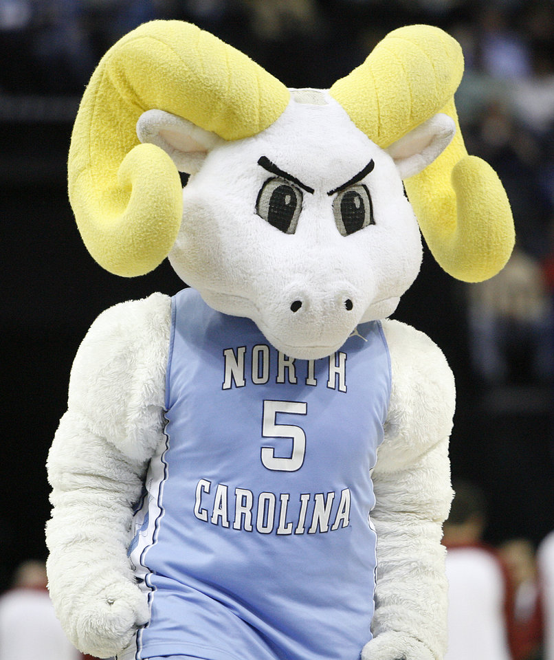 Photo - The North Carolina mascot performs during the first half in the Elite Eight game of NCAA Men's Basketball Regional between the University of North Carolina and the University of Oklahoma at the FedEx Forum on Sunday, March 29, 2009, in Memphis, Tenn.
