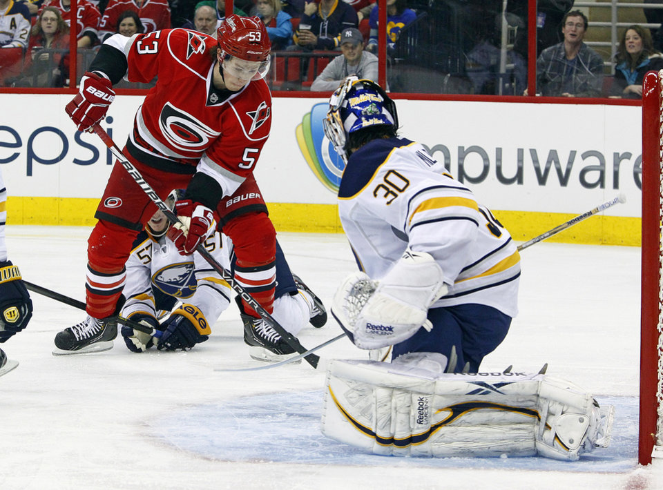 Carolina Hurricanes\' Jeff Skinner (53) takes a shot at Buffalo Sabres goalie Ryan Miller (30) during the second period of an NHL hockey game, Tuesday, March 5, 2013, in Raleigh, N.C. (AP Photo/Karl B DeBlaker)