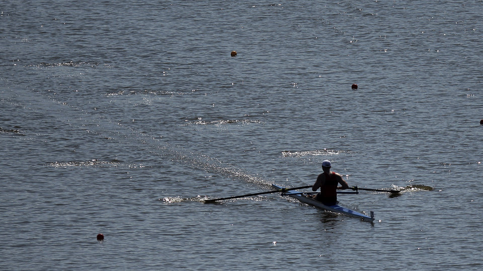 B. Bauge with the Dallas Rowing Club competes in the Mens  Hwt. B 1x final during the USRowing Masters National Championships on the Oklahoma River, Sunday, Aug. 14, 2011. Photo by Sarah Phipps, The Oklahoman