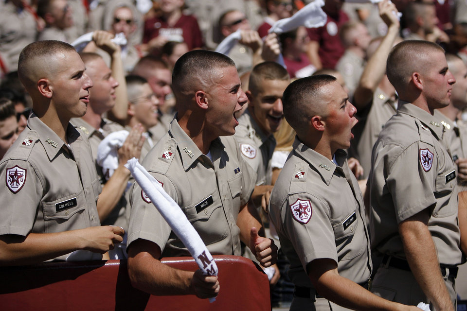 Texas A&M Corps of Cadets cheers during the first half on Saturday. Photo by Sarah Phipps, The Oklahoman