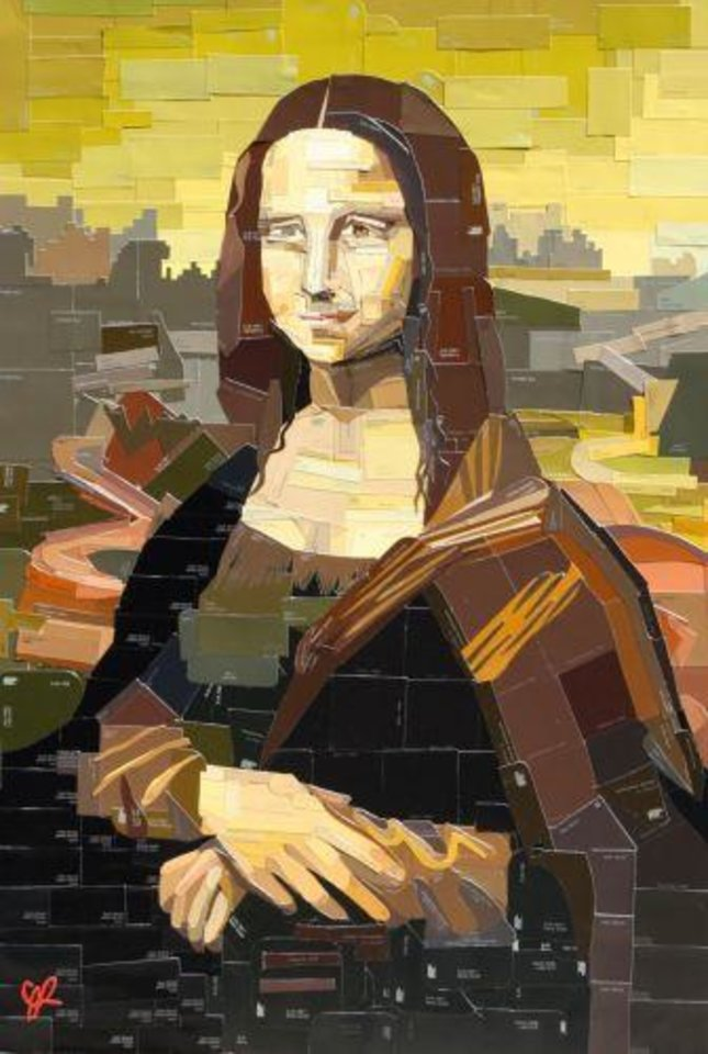 """Photo -  Dallas """"swatch"""" painter Jennifer Lashbrook, the featured artist at the 2013 Arts Festival Oklahoma, created her """"DIY Mona Lisa"""" out of carefully cut out and arranged paint swatches."""
