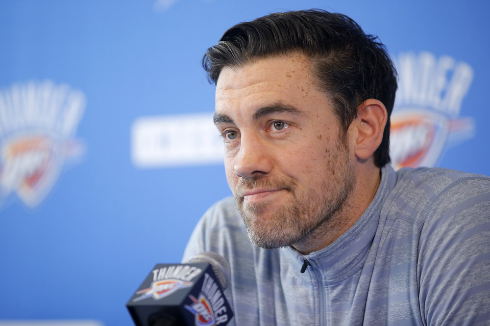 Photo - Oklahoma City's Nick Collison speaks to the media during exit interviews for the Oklahoma City Thunder at the Integris Thunder Development Center in Oklahoma City, Okla., Saturday, April 28, 2018. Photo by Bryan Terry, The Oklahoman