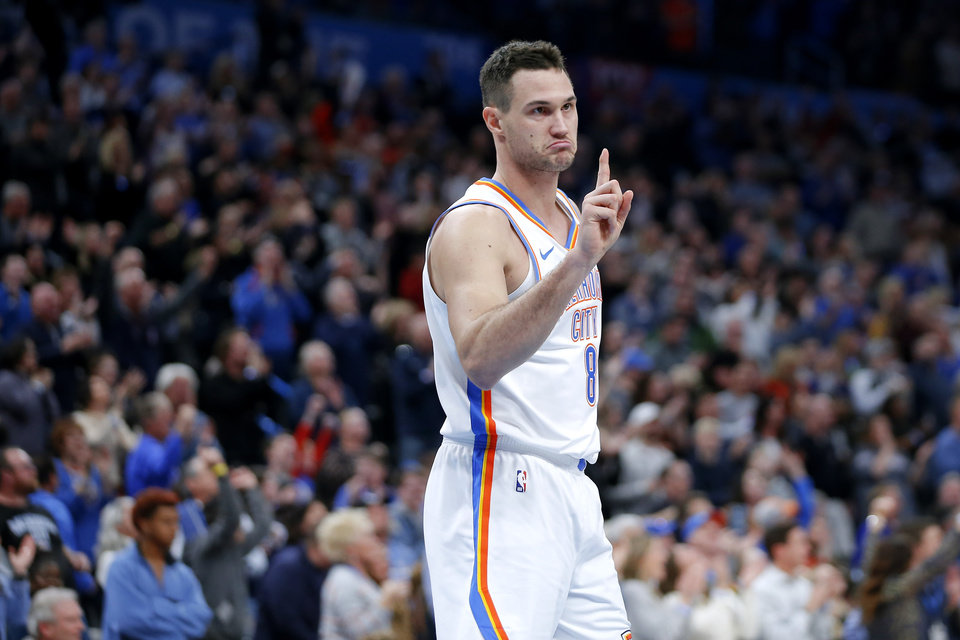 Photo - Oklahoma City's Danilo Gallinari (8) gestures after a steal in the final minuet of an NBA basketball game between the Oklahoma City Thunder and the Dallas Mavericks at Chesapeake Energy Arena in Oklahoma City, Tuesday, Dec. 31, 2019. Oklahoma City won 106-101. [Bryan Terry/The Oklahoman]