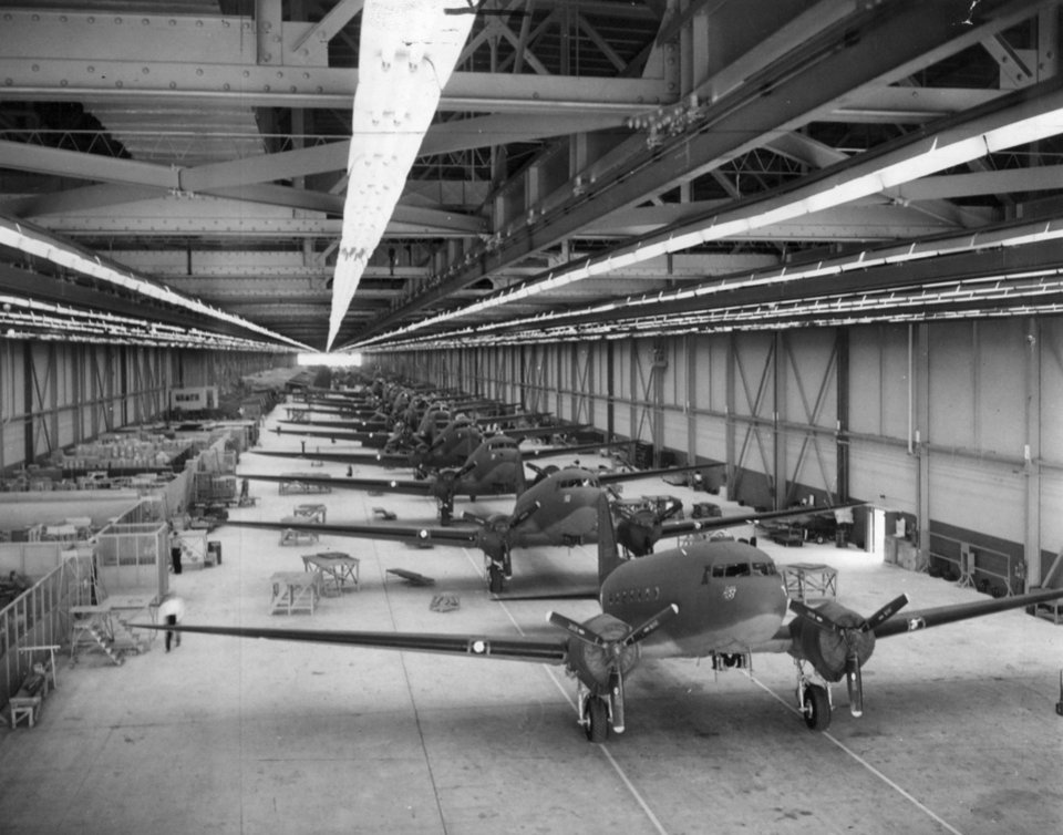 Photo - C-47's on the production line at the Douglas plant in Midwest City.