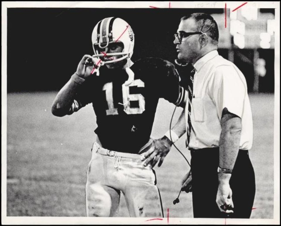 Photo -  Joe Tunnell, right, coaches a game for Lindsay High School in 1969. [OKLAHOMAN ARCHIVES]