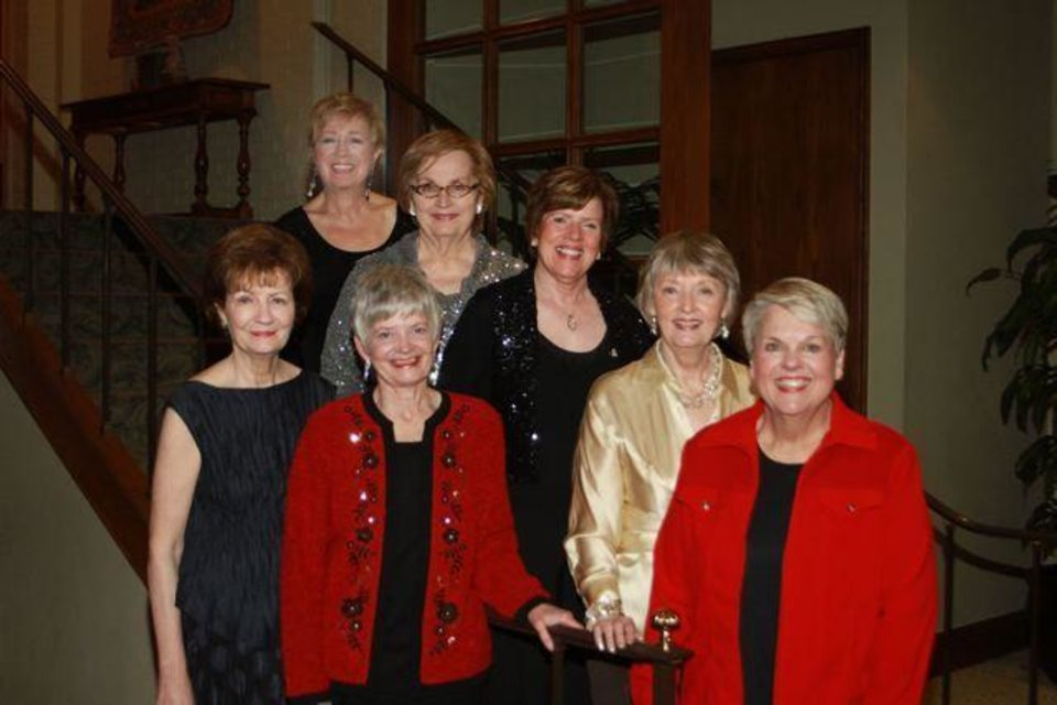 RED DRESS GALA...Sandra Martin, Carol Heitz, Dorothy Allshouse, Angela Bachman, Bobbie Moore (50 year pin recipients)... Sarah Powell Newcomb (Panhellenic WOY 2011) and Kim Moody Sanders were at the recent Alpha Phi sorority Red Dress Gala to celebrate the Oklahoma City University group\'s 50th anniversary. (Photo provided).