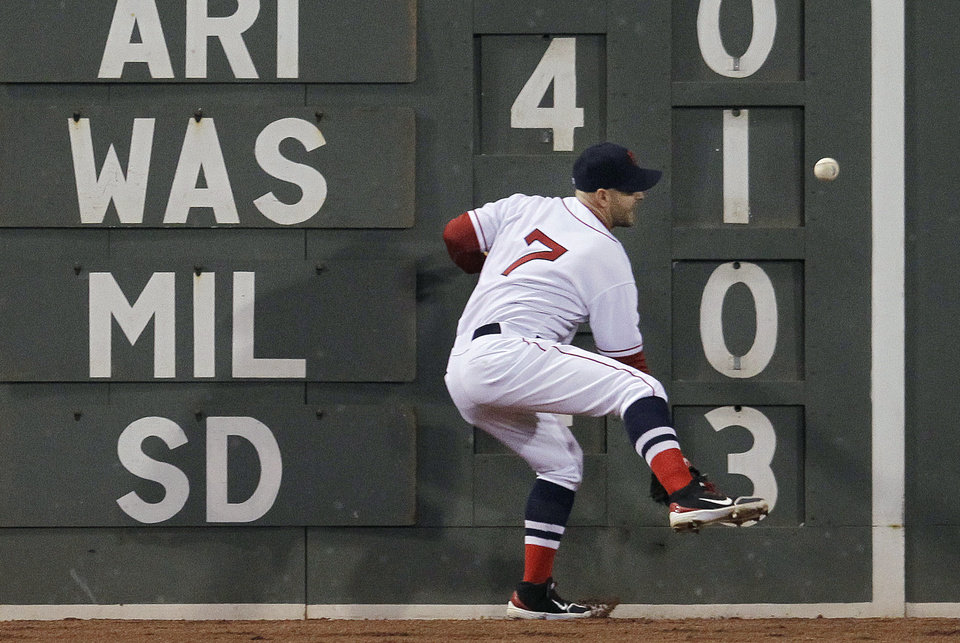 Photo -   Boston Red Sox left fielder Cody Ross cannot get to a double off the wall by Oakland Athletics' Yoenis Cespedes during the fourth inning of a baseball game at Fenway Park in Boston, Wednesday, May 2, 2012. (AP Photo/Elise Amendola)